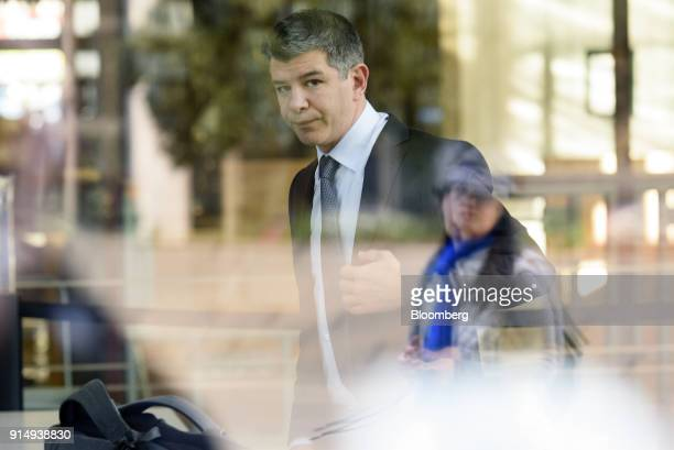 Travis Kalanick cofounder and former chief executive officer of Uber Technologies Inc arrives at the Phillip Burton Federal Building and US...