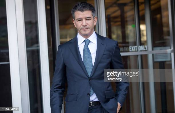 Travis Kalanick cofounder and former chief executive officer of Uber Technologies Inc exits the Phillip Burton Federal Building and US Courthouse in...