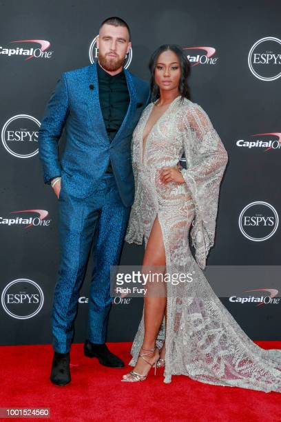 Travis Kelce and Kayla Nicole attend the 2018 ESPYS at Microsoft Theater on July 18 2018 in Los Angeles California