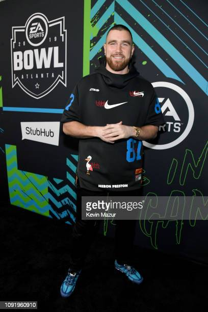 Travis Kelce attends Bud Light Super Bowl Music Fest / EA SPORTS BOWL at State Farm Arena on January 31 2019 in Atlanta Georgia