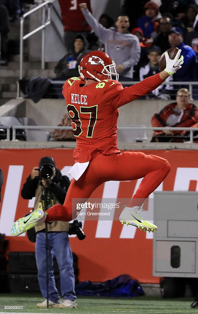 Travis Kelce #87 of the AFC completes a pass for a touchdown in the second quarter against the NFC during the NFL Pro Bowl at the Orlando Citrus Bowl on January 29, 2017 in Orlando, Florida.