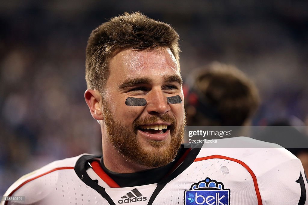 Travis Kelce #18 of the Cincinnati Bearcats reacts after scoring the game winning touchdown against the Duke Blue Devils during their game at Bank of America Stadium on December 27, 2012 in Charlotte, North Carolina.