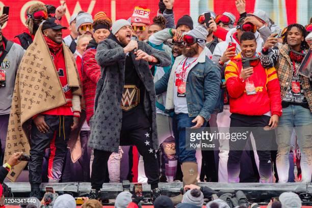 Travis Kelce of the Kansas City Chiefs address the fans during the Kansas City Chiefs Victory Parade on February 5 2020 in Kansas City Missouri