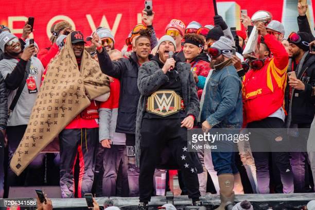 Travis Kelce of the Kansas City Chiefs addresses the fans during the Kansas City Chiefs Victory Parade on February 5 2020 in Kansas City Missouri