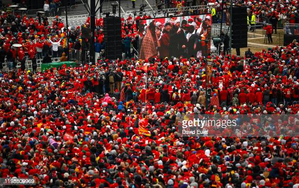 Travis Kelce of the Kansas City Chiefs addresses the teams fans on February 5 2020 in Kansas City Missouri during the citys celebration parade for...