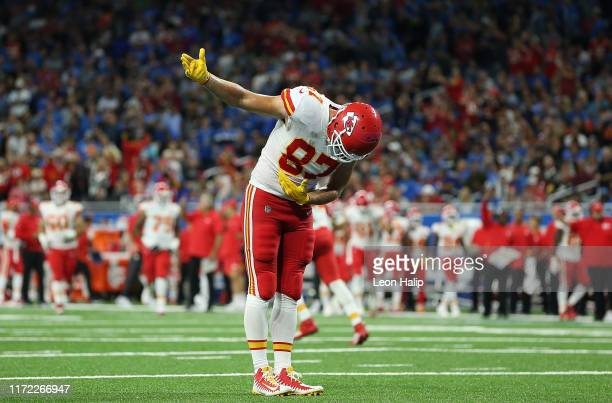 Travis Kelce of the Kansas City Chiefs celebrates a third quarter touchdown during the game against the Detroit Lions at Ford Field on September 29,...