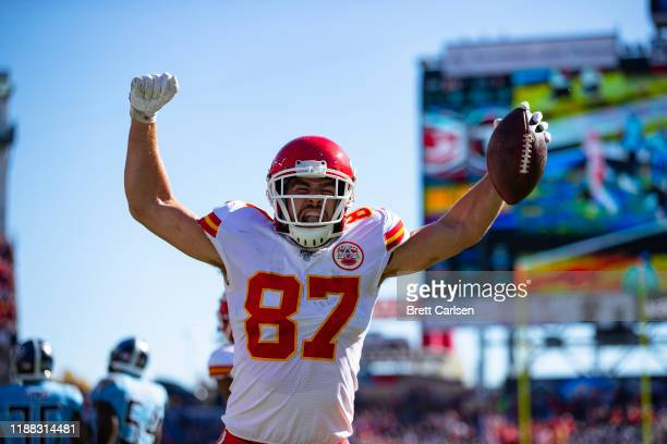 Travis Kelce of the Kansas City Chiefs celebrates a touchdown that was called back due to penalty during the first quarter against the Tennessee...