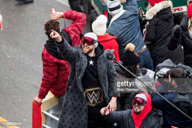 Travis Kelce of the Kansas City Chiefs points to the crowd during the Kansas City Super Bowl Parade on February 5, 2020 in Kansas City, Missouri.