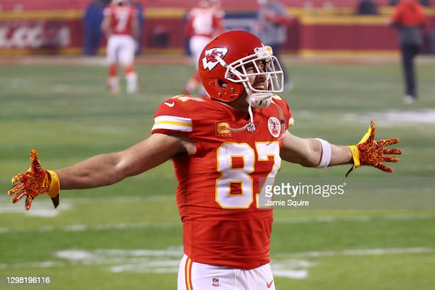 Travis Kelce of the Kansas City Chiefs reacts before the AFC Championship game against the Buffalo Bills at Arrowhead Stadium on January 24, 2021 in...