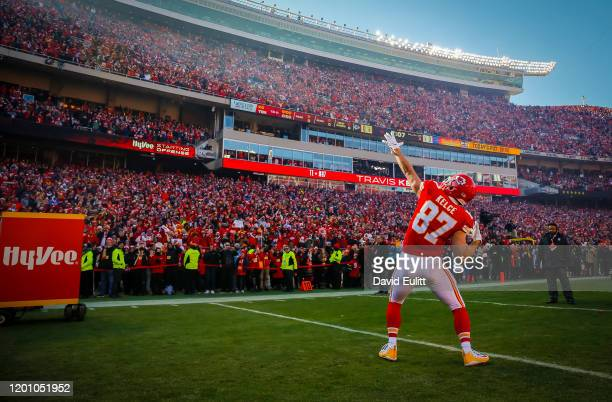 Travis Kelce of the Kansas City Chiefs reacts during his player introduction prior to the AFC Championship game against the Tennessee Titans at...