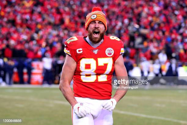 Travis Kelce of the Kansas City Chiefs reacts late in the game against the Tennessee Titans in the AFC Championship Game at Arrowhead Stadium on...
