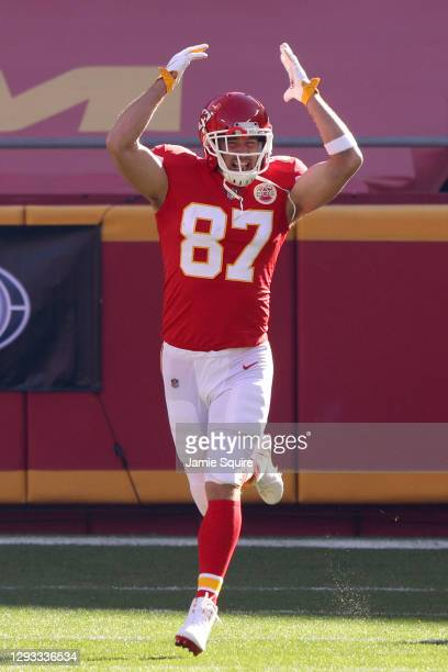 Travis Kelce of the Kansas City Chiefs runs on to the field before the game against the Atlanta Falcons at Arrowhead Stadium on December 27, 2020 in...