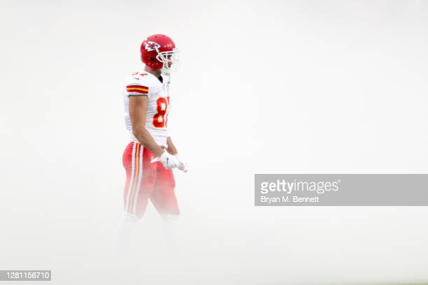 Travis Kelce of the Kansas City Chiefs takes the field prior to the game against the Buffalo Bills at Bills Stadium on October 19, 2020 in Orchard...