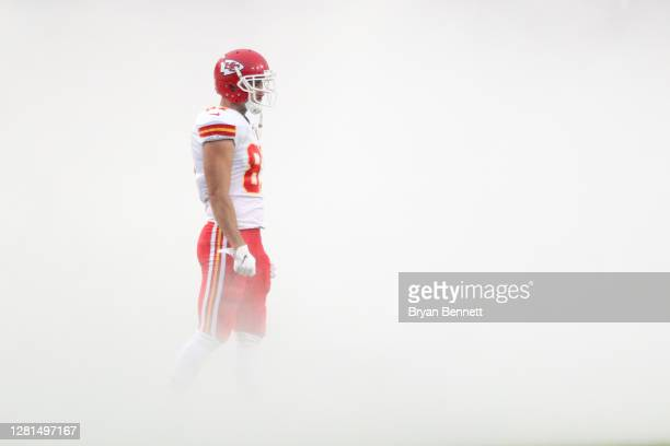 Travis Kelce of the Kansas City Chiefs walks on the field prior to a game against the Buffalo Bills at Bills Stadium on October 19, 2020 in Orchard...