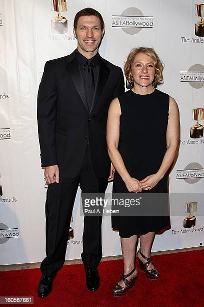 Travis Knight and Arianne Sutner arrive at the 40th Annual Annie Awards held at Royce Hall on the UCLA Campus on February 2 2013 in Westwood...