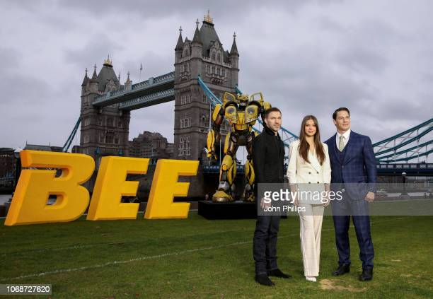 Travis Knight, Hailee Steinfeld and John Cena attend a photocall in support of Paramount Pictures' film 'Bumblebee'â at Tower Bridge, Potters Field...