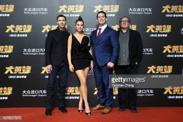 Travis Knight Hailee Steinfeld John Cena Lorenzo di Bonaventura attend Paramount Pictures' red carpet for 'Bumblebee' on December 14 2018 in Beijing...