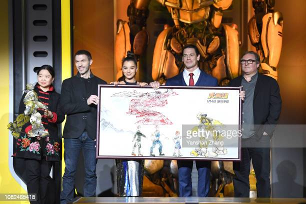 Travis Knight Hailee Steinfeld John Cena Lorenzo di Bonaventura attend Paramount Pictures' Beijing press conference for 'Bumblebee' on December 14...