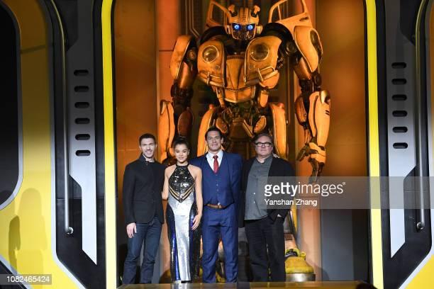 Travis Knight Hailee Steinfeld John Cena Lorenzo di Bonaventura attend Paramount Pictures' Beijing press conference for 'Bumblebee' on December 14...