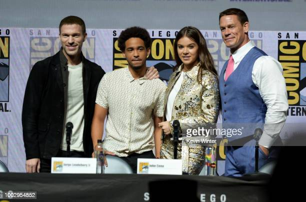 Travis Knight Jorge Lendeborg Jr Hailee Steinfeld and John Cena speak onstage at the Bumblebee panel during ComicCon International 2018 at San Diego...