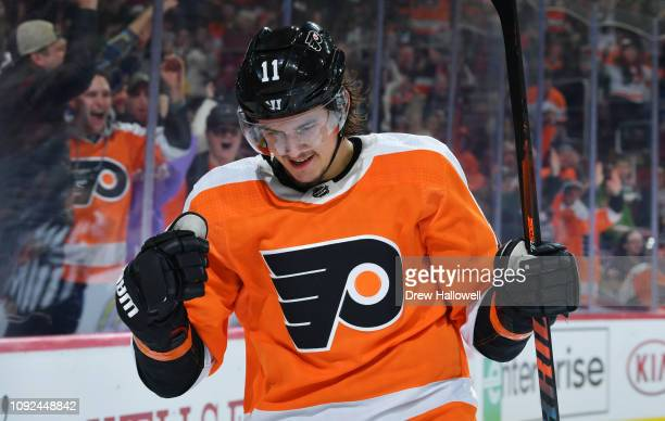 Travis Konecny of the Philadelphia Flyers celebrates a goal against the Dallas Stars at Wells Fargo Center on January 10, 2019 in Philadelphia,...