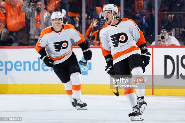 Travis Konecny of the Philadelphia Flyers celebrates after scoring during the third period against the Boston Bruins at Wells Fargo Center on October...