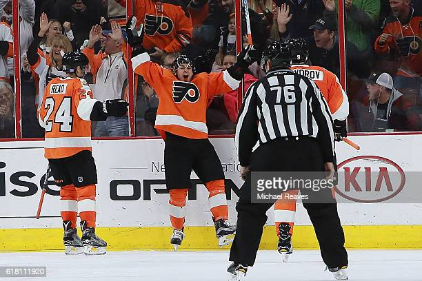 Travis Konecny of the Philadelphia Flyers celebrates after scoring his first NHL goal against the Buffalo Sabres in the third period at Wells Fargo...