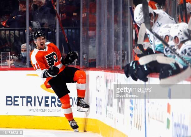 Travis Konecny of the Philadelphia Flyers celebrates his first period goal against the Seattle Kraken at the Wells Fargo Center on October 18, 2021...