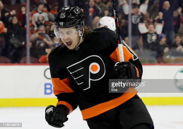 Travis Konecny of the Philadelphia Flyers celebrates his game winning goal against the Detroit Red Wings at Wells Fargo Center on February 16, 2019...