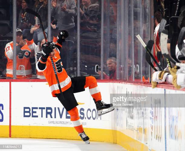Travis Konecny of the Philadelphia Flyers celebrates his power-play goal at 4:15 of the first period against the Vegas Golden Knights at the Wells...