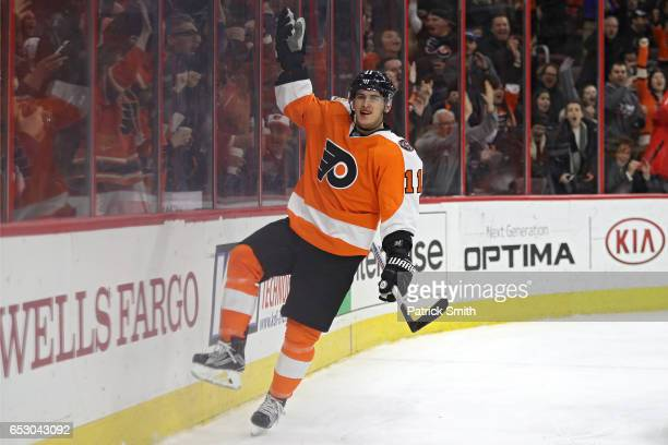 Travis Konecny of the Philadelphia Flyers celebrates his second goal of the game against the Columbus Blue Jackets during the second period at Wells...