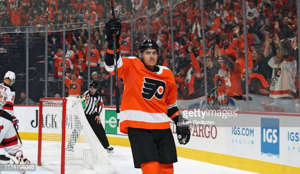 Travis Konecny of the Philadelphia Flyers celebrates his third period goal against the New Jersey Devils on October 9, 2019 at the Wells Fargo Center...