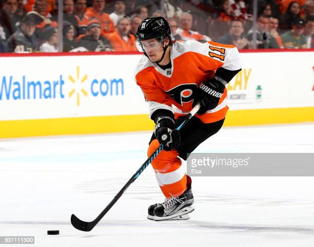 Travis Konecny of the Philadelphia Flyers heads for the net in the second period against the Vegas Golden Knights on March 12 2018 at Wells Fargo...