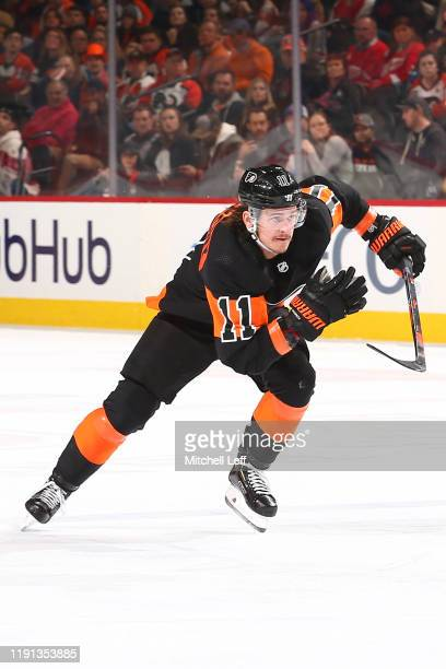 Travis Konecny of the Philadelphia Flyers in action against the Detroit Red Wings at the Wells Fargo Center on November 29, 2019 in Philadelphia,...