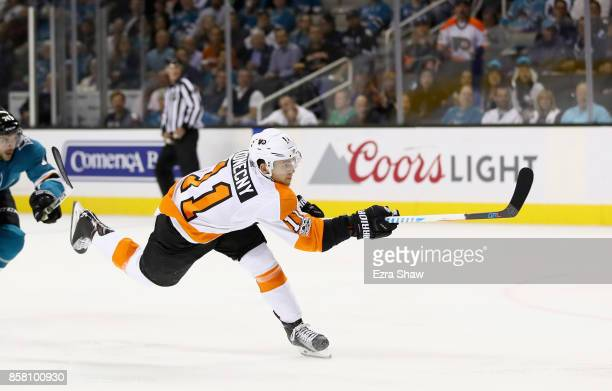 Travis Konecny of the Philadelphia Flyers in action against the San Jose Sharks at SAP Center on October 4 2017 in San Jose California