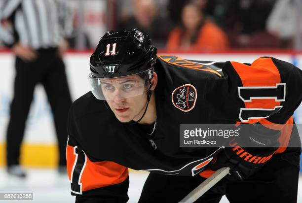 Travis Konecny of the Philadelphia Flyers looks on against the Pittsburgh Penguins on March 15 2017 at the Wells Fargo Center in Philadelphia...