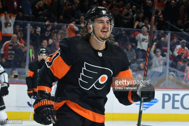 Travis Konecny of the Philadelphia Flyers reacts after he scored against the Los Angeles Kings in the second period at Wells Fargo Center on January...