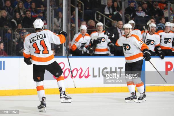 Travis Konecny of the Philadelphia Flyers reacts after scoring a goal in the second period against the New York Rangers at Madison Square Garden on...
