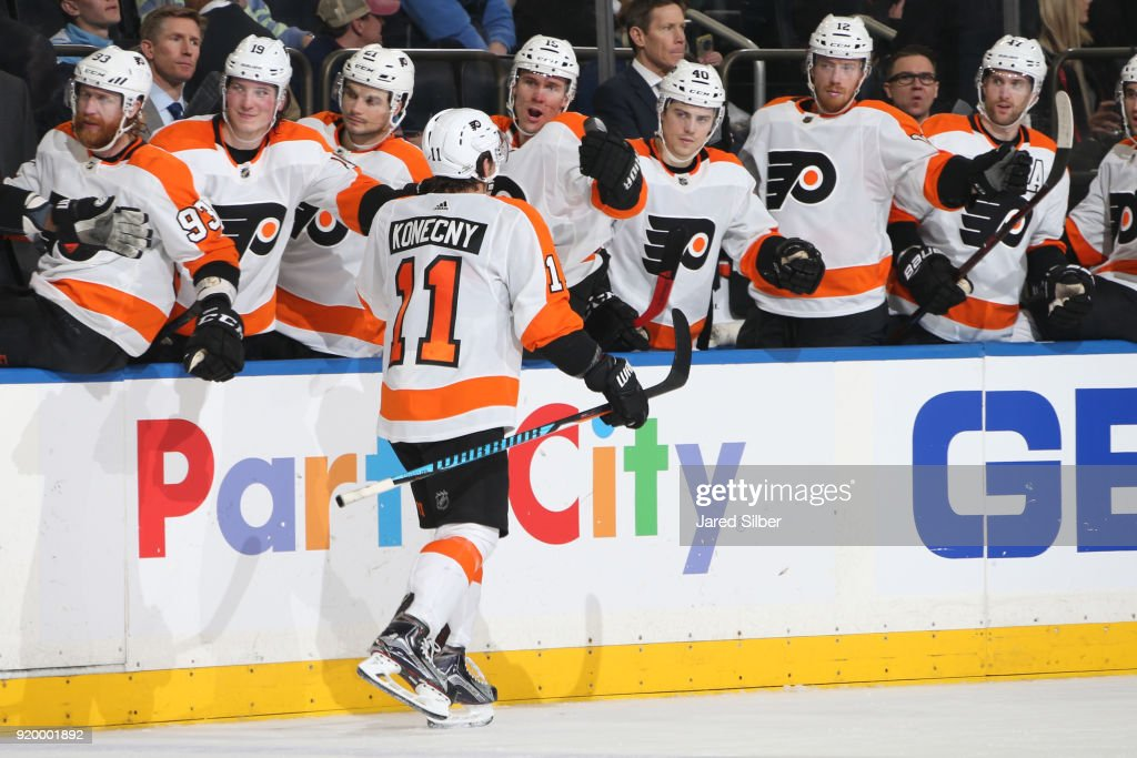 Travis Konecny #11 of the Philadelphia Flyers reacts after scoring a goal in the second period against the New York Rangers at Madison Square Garden on February 18, 2018 in New York City.