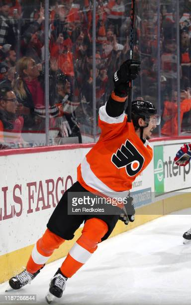 Travis Konecny of the Philadelphia Flyers reacts after Sean Couturier scored the game-winning goal to defeat the Montreal Canadiens 3-2 in overtime...