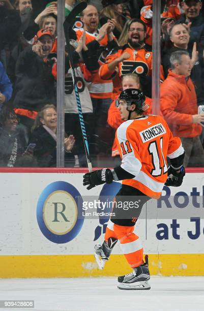 Travis Konecny of the Philadelphia Flyers reacts following his second period goal against the New York Rangers on March 22 2018 at the Wells Fargo...