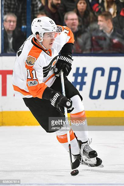 Travis Konecny of the Philadelphia Flyers skates against the Columbus Blue Jackets on January 8 2017 at Nationwide Arena in Columbus Ohio