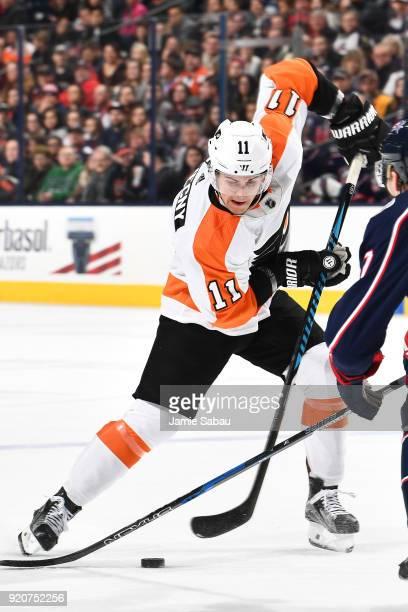 Travis Konecny of the Philadelphia Flyers skates against the Columbus Blue Jackets on February 16 2018 at Nationwide Arena in Columbus Ohio