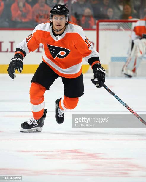 Travis Konecny of the Philadelphia Flyers skates against the New Jersey Devils on October 9, 2019 at the Wells Fargo Center in Philadelphia,...