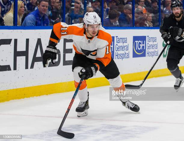 Travis Konecny of the Philadelphia Flyers skates against the Tampa Bay Lightning at Amalie Arena on February 15, 2020 in Tampa, Florida.