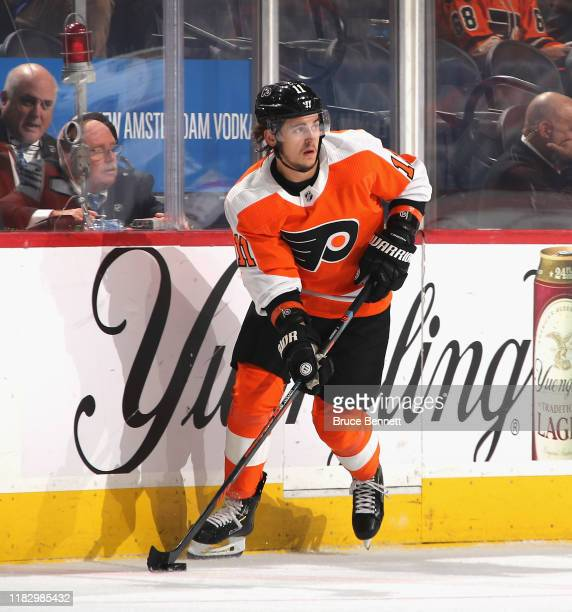 Travis Konecny of the Philadelphia Flyers skates against the Vegas Golden Knights at the Wells Fargo Center on October 21, 2019 in Philadelphia,...