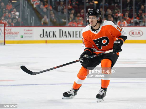 Travis Konecny of the Philadelphia Flyers skates against the Winnipeg Jets on January 28, 2019 at the Wells Fargo Center in Philadelphia,...