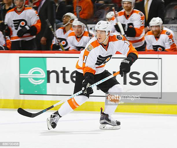 Travis Konecny of the Philadelphia Flyers skates during the game against the New Jersey Devils at Prudential Center on December 22 2016 in Newark New...