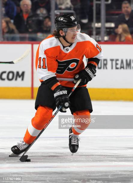 Travis Konecny of the Philadelphia Flyers skates the puck against the Edmonton Oilers on February 2, 2019 at the Wells Fargo Center in Philadelphia,...