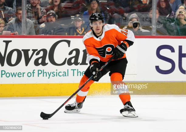 Travis Konecny of the Philadelphia Flyers skates the puck against the Pittsburgh Penguins on January 21, 2020 at the Wells Fargo Center in...